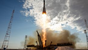 The Soyuz TMA-05M rocket launches from the Baikonur Cosmodrome in Kazakhstan on Sunday, July 15, 2012 carrying Expedition 32 Soyuz Commander Yuri Malenchenko, NASA Flight Engineer Sunita Williams and JAXA (Japan Aerospace Exploration Agency) Flight Engineer Akihiko Hoshide to the International Space Station.  Photo Credit: (NASA/Carla Cioffi)